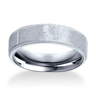 Bliss Men's 10k White Gold 6mm Brushed Comfort Fit Wedding Band