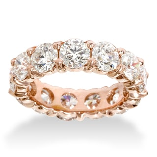 Bliss 14k Rose Gold 5.5ct TDW Eternity Diamond Anniversary Ring