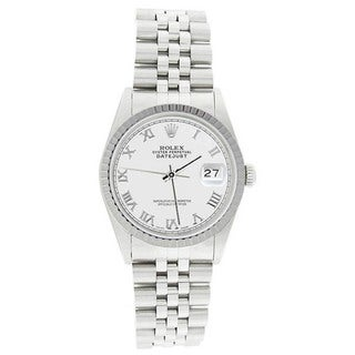 Pre-owned Rolex Men's 16220 Datejust Stainless Steel Jubilee Bracelet White Roman Watch