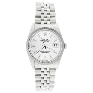 Pre-owned Rolex Men's 16220 Datejust Stainless Steel Jubilee Bracelet White Stick Watch