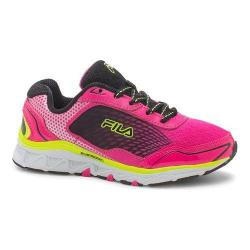 Girls' Fila Energistic Running Shoe Pink Glo/Black/Safety Yellow