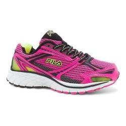 Children's Fila Nitro Fuel Running Shoe Pink Glo/Black/Safety Yellow