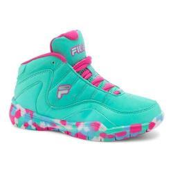 Girls' Fila Sweeper Basketball Shoe Cockatoo/Blue Fish/Pink Glo