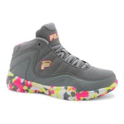 Girls' Fila Sweeper Basketball Shoe Monument/Knockout Pink/Safety Yellow