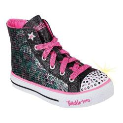 Girls' Skechers Twinkle Toes Shuffles Bravo Bling High Top Black/Hot Pink