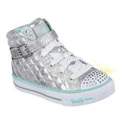 Girls' Skechers Twinkle Toes Shuffles Sweetheart Sole High Top Silver