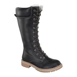 Women's Wild Diva Broadway-12 Combat Boot Black Faux Leather