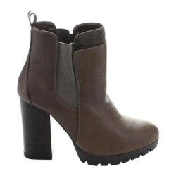 Women's Wild Diva Kimber-04 Chelsea Boot Taupe/Grey Faux Leather