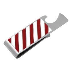 Men's Cufflinks Inc Varsity Stripes Bottle Opener Money Clip Red/White