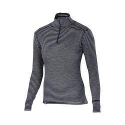 Women's Ibex Woolies 1 Zip T-Neck Pullover Black/Medium Heather Grey Stripe