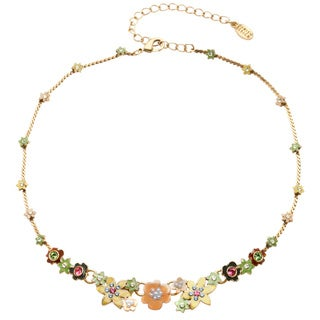 Goldtone Gemstone and Enamel Floral Charm Chain Necklace