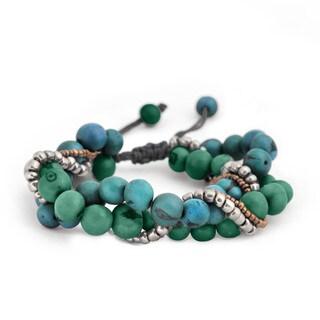 Aylin Blue/ Green Glass Bead and Acai Seed Bracelet (Bolivia)