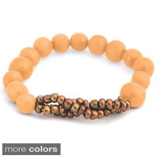 Veruca Acai Seed and Glass Bead Stretch Bracelet (Bolivia)