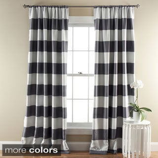Lush Decor Horizontal Stripe Blackout Curtain Panel Pair