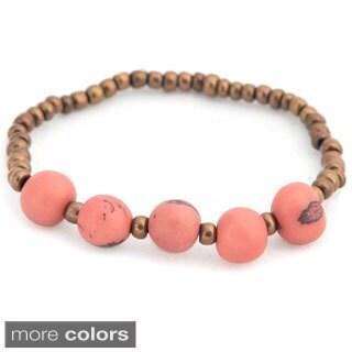 Sade Acai Seed and Glass Bead Stretch Bracelet (Bolivia)