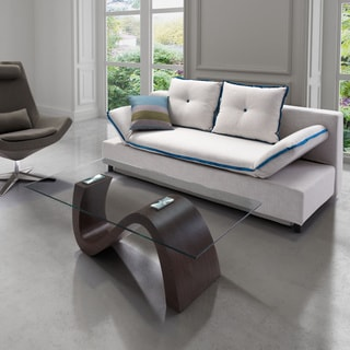 Zuo Serenity Sleeper Sofa Natural with Blue Piping