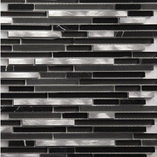 Martini Mosaic Riga Silver Black 12x12-inch Backsplash Tile (Case of 8)