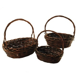 Large Dark Stained Willow Baskets (Set of 3)