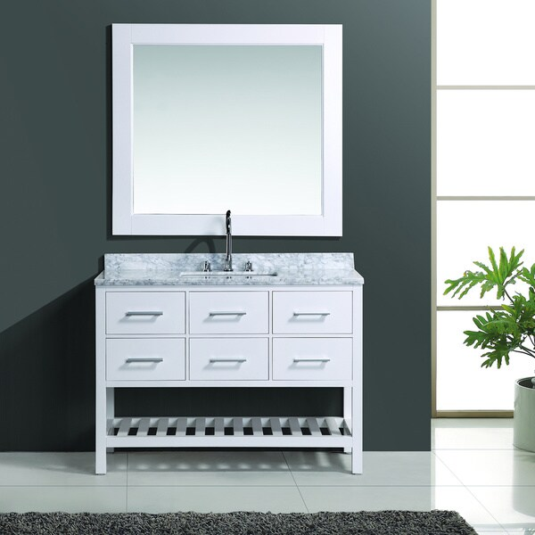 Design Element London 48 Inch White Single Sink Vanity Set