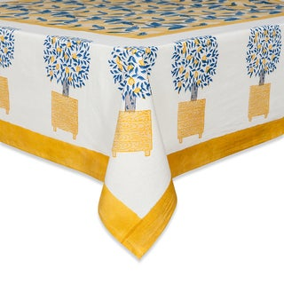 Couleur Nature Lemon Tree Round Tablecloth, Blue/Yellow