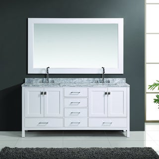 London 72-inch White Finish Double Sink Vanity Set with Mirror