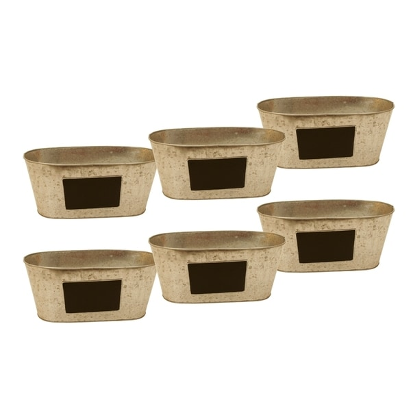Galvanized Oval Containers with Chalkboard (Set of 6)