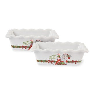 Fitz and Floyd Candy Cane Santa Mini Loaf Pan (Set of 2)