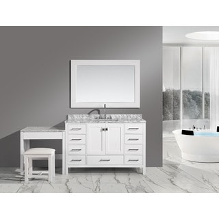 Design Element London 48-inch White Single Sink Vanity Set with Makeup Table