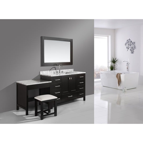 Design element london 102 inch single sink espresso vanity set with