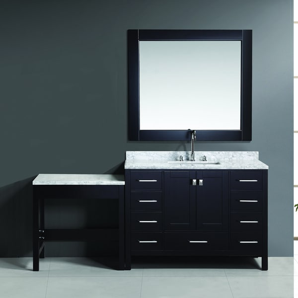London 48 Inch Espresso Single Sink Vanity Set With Makeup Table Overstock Shopping Great