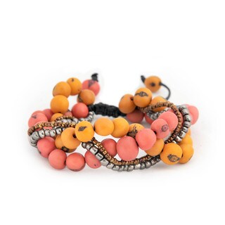 Aylin Pink/ Yellow Acai Seeds and Glass Bead Bracelet (Bolivia)