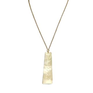 Monet Brass Leaf Pendant Necklace (Kenya)