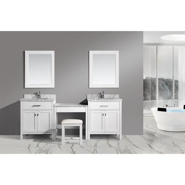 Design Element Two London White  Inch Single Sink Vanity