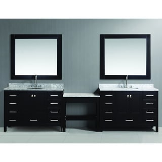 Two London Espresso 48-inch Single Sink Vanity Set with Make-up Table