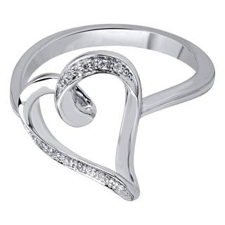 Bridal Symphony 10k White Gold Diamond Heart Ring