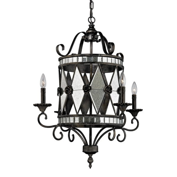 Elk Lighting Mariana 4-light Black Weathered Silver Chandelier