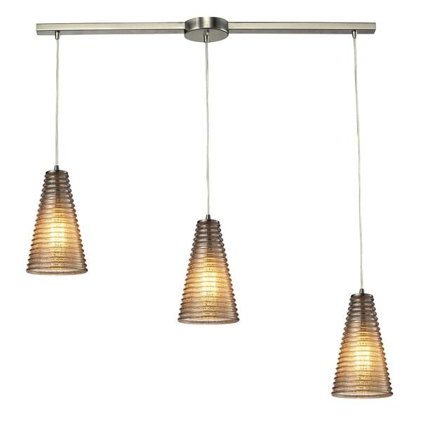 Ribbed Glass Satin Nickel Three Light Chandelier 14104968