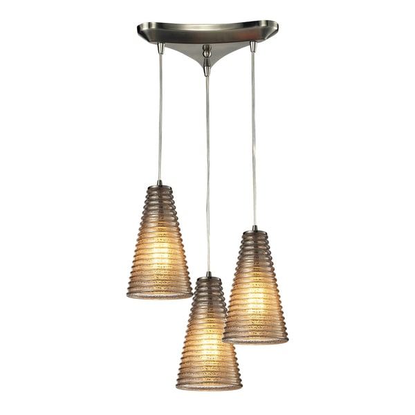 Elk Lighting 3-light Satin Nickel Ribbed Glass Chandelier 14104969