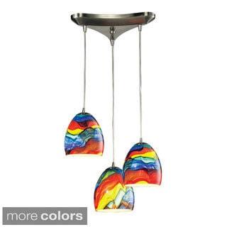 Elk Lighting Colorwave 3-light Satin Nickel Glass Chandelier