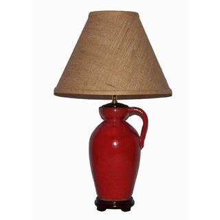 Crown Lighting 1-light Dark Orange Distressed Finish Ceramic Jug Table Lamp