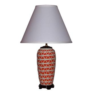 Crown Lighting 1-light Orange with White Geometric Pattern Ceramic Table Lamp