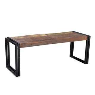 Timbergirl Handcrafted Reclaimed Wood Bench with Metal Legs (India)