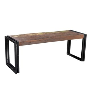 Handmade Old Wood Bench with Metal Legs (India)