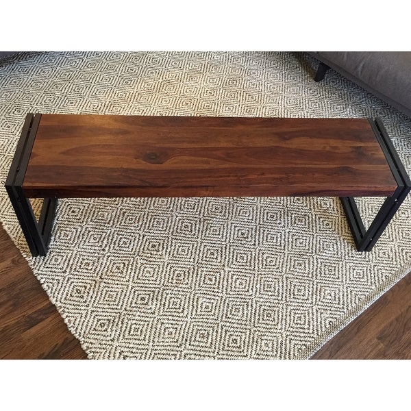 Timbergirl Reclaimed Seesham Wood Bench With Metal Legs India 16686228