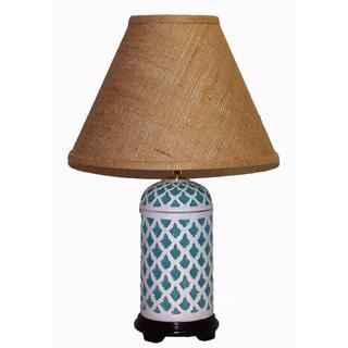 Crown Lighting 1-light Turquoise/ White Geometric Pattern Ceramic Table Lamp