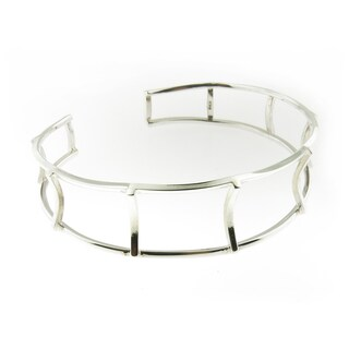 Hand-crafted .925 Sterling Silver High Polish Open Fence Cuff Bracelet (Thailand)