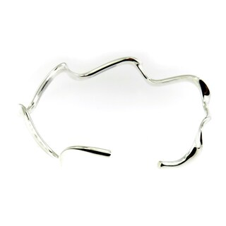 Hand-crafted .925 Sterling Silver High Polish Open Wave Cuff Bracelet (Thailand)