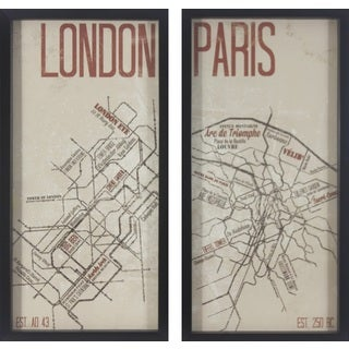 Paris and London Framed Map Prints (Set of 2)