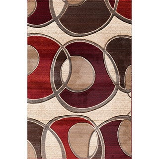Christopher Knight Home Pinnacle Around the Block Beige/ Red Area Rug (7'10 x 9'10)