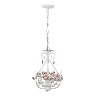 Elk Lighting Floria Antique White with Pink Crystals 1-light Chandelier